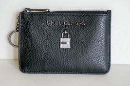 NWT MICHAEL KORS ADELE COINPOUCH WITH ID KEY RING CARD HOLDER LEATHER BLACK - $49.49