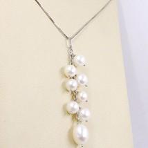 Halskette Weißgold 750 18K, Anhänger Cluster, Perlen Weiß, Kette Venetian image 2