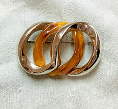 VINTAGE SIGNED LC LIZ CLAIBORNE SILVER AMBER PIN BROOCH Mod Infinity Design - $11.64