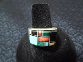 Southwest Sterling Silver Turquoise Buffalo Inlay Unisex Band Ring Size 9 - $84.65