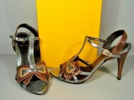 Fendi 36 Metallic Bronze Silver Gold Snakeskin Leather T-STRAP Sandals Shoes New - $327.25