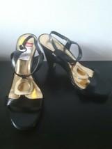 Anne Klein Heels Shoes Black Gold Open Toe Buckle Dressy Womens Size 8 M - $29.65
