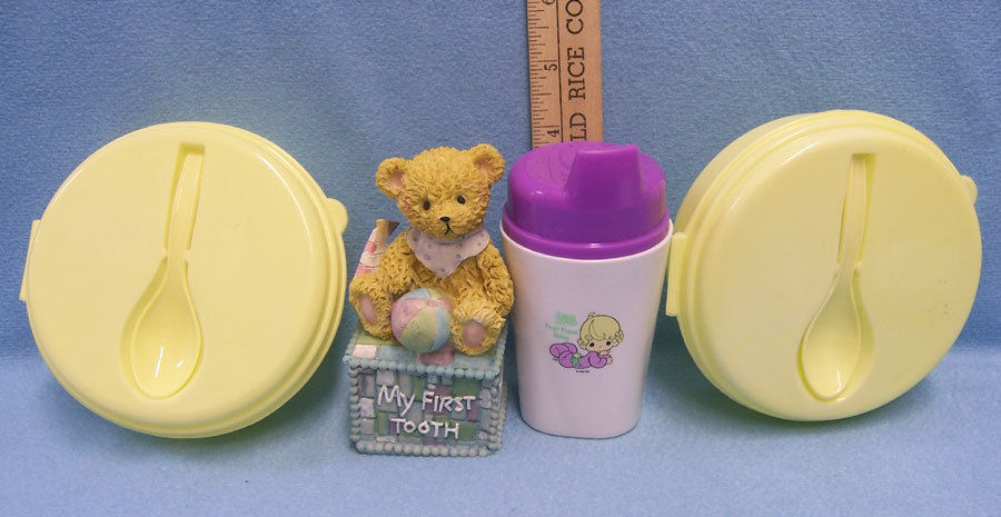 Vintage Plastic Baby Feeding Dishes & Sippy Cup My First Tooth Holder Lot of 4 - $13.85