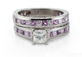 Certified 3.20Ct White & Pink Princess Cut Diamond Wedding Ring Set in 1... - $303.39