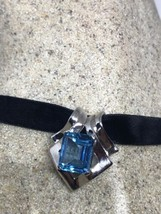 Vintage Genuine Blue Topaz Deco Sterling Silver Rhodium Finish Pendant - $163.35