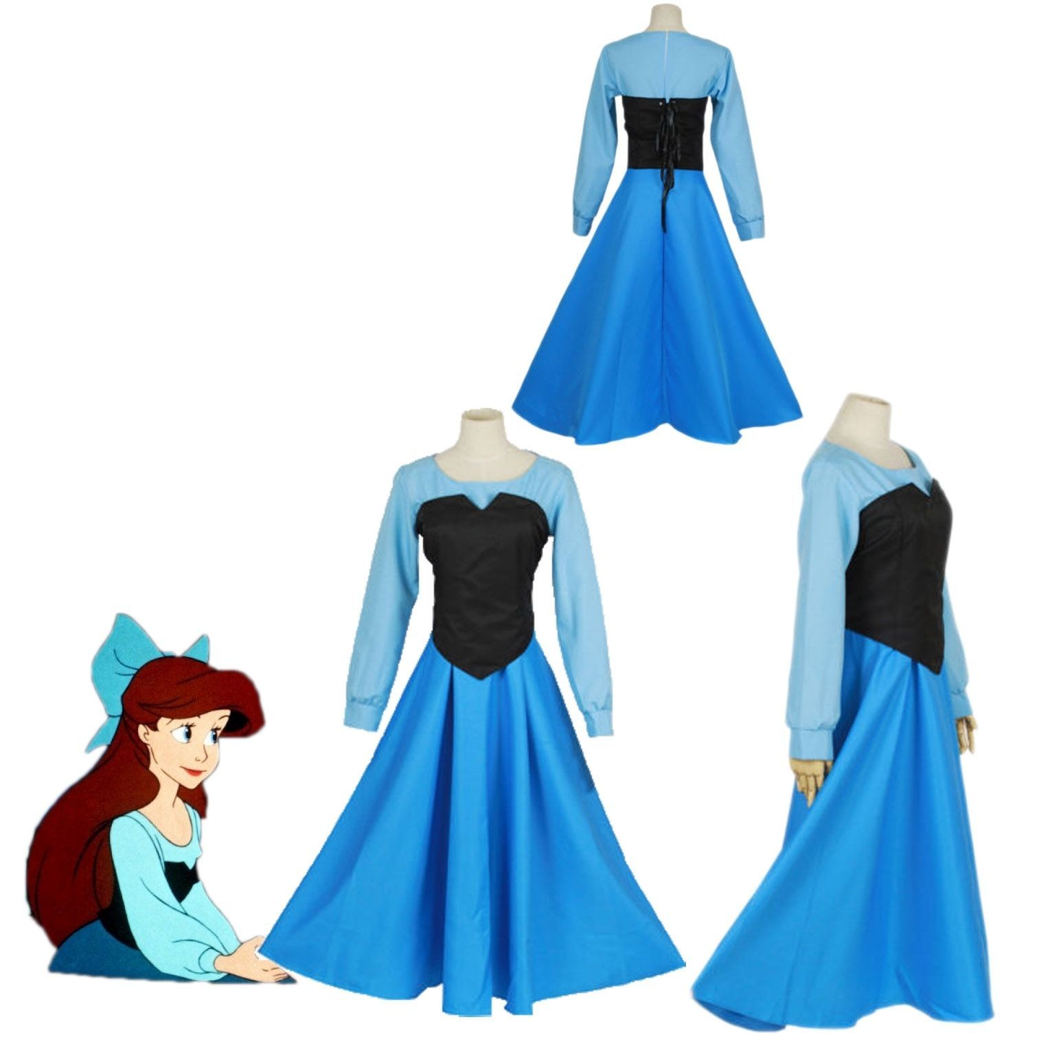 Cartoon The Little Mermaid Ariel Mermaid Princess Ariel Dress cosplay costume, used for sale  USA