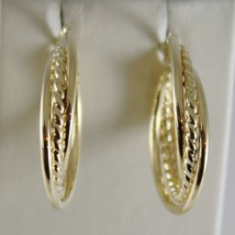 18K YELLOW GOLD TWISTED EARRINGS WORKED & BRIGHT CIRCLE HOOP 23 MM MADE IN ITALY image 1