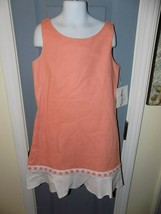 Maggie Breen too Peach W/Eyelet White Ruffle Dress Size 16 Girl NEW MADE... - $35.10