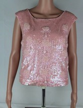 Vintage women's blouse pink sequin beaded sleeveless wool Hong Kong size S - $50.00