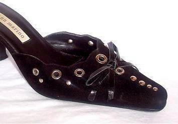 6M Silver Stud Bow Shoes Black Leather Kitten Heel Gothic Couture