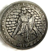 New Hobo Nickel 1879 Templar Knight Morgan Dollar Crusade Society Casted... - $11.39