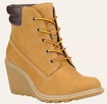 Timberland Woman AMSTRON 6-INCH BOOTS, 8251A Wheat Nubuck Wedge. SZ:9 - $93.50