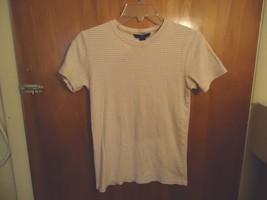 "Womens Gap Size M Tan & White Striped Short Sleeve Top "" Beautiful Top "" - $11.99"