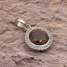 3.12 natural Round Cut Smoky Quartz With White Topaz 925 Sterling Silver... - $12.16