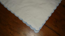 Pottery Barn Kids White Scallop Standard Pillow Sham With Blue Embroidery Euc - $14.82