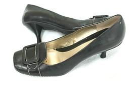 Nine West Spotlight Pumps Blk Leather Size 9 M Shoes Genuine leather squ... - $14.85