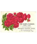Nampa Nursery Idaho Victorian trade card roses vintage advertising ephemera - $14.00