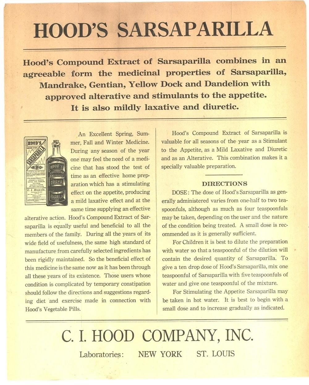Hood's Sarsaparilla Vegetable Pills leaflet 1890 bottle ephemera paper antique