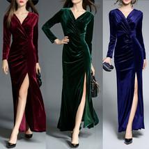 Classic Women's Velvet Evening V-neck Long Sleeved Bodycon Party Dress - $64.98