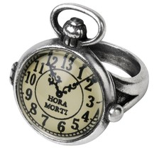 Uncle Albert's Time Piece Ring Hour of Death Steampunk Pocket Watch Alchemy R203 - $29.95