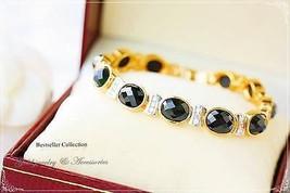 THAI BRACELET GOLD PLATED  JEWELRY THAI GOLD SPINEL BLACK BAHT GOLD 22K ... - $39.19