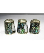 Estate Lot Mexico Abalone Flower Inlay Thimbles Set of 3 C2073 - $27.96