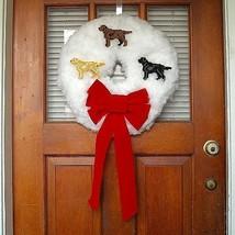 Labrador Retriever Christmas wreath - Elegance in White, made by hand - $60.00