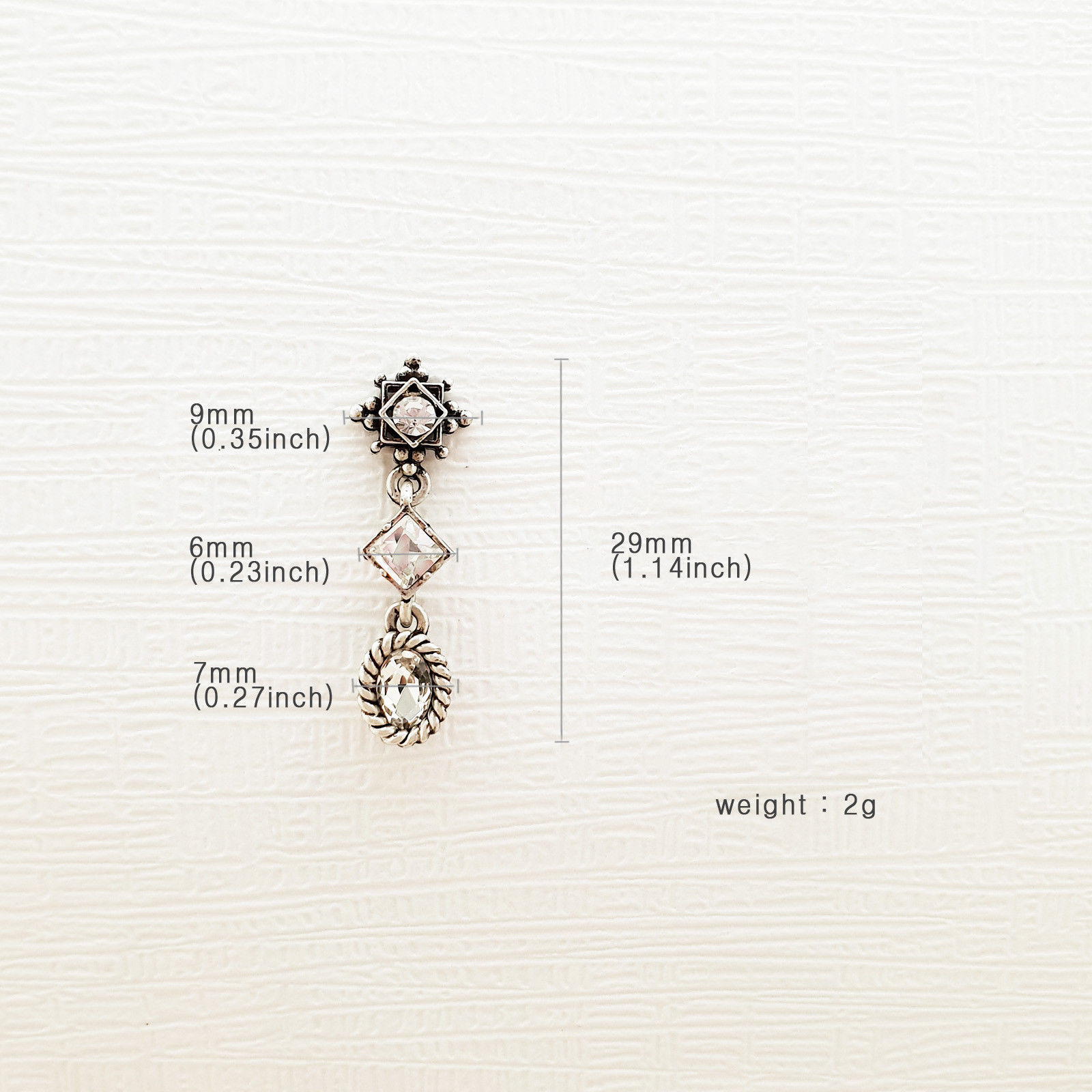 3 Tiered Oval Rhombus Dangle Earrings Made With Swarovski Stone 925 Silver Ear image 9
