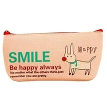Smile Dog Canvas Cosmetic Pencil Pouch Purse Stationery Bag (9 x 18cm) PINK