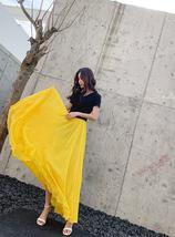 High Waist Full Chiffon Skirt Beach Bridesmaid Chiffon Skirts, Red yellow green image 9