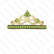 14K Yellow Gp Silver 0.25ctw Created Peridot Princess Crown Ring For Women - $92.99