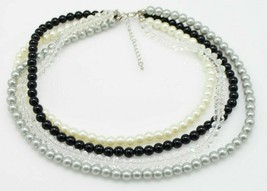 Black Silver Beige Faux Pearl Clear Crystal Bead Beaded Choker Necklace - $19.79