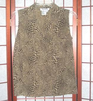 Allison taylor animal print silk sleeveless top sz s