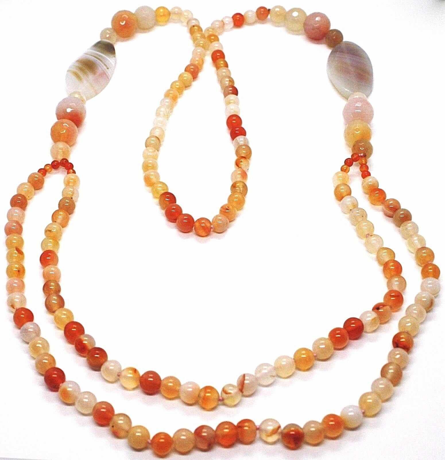 LONG NECKLACE 100 CM, 1 metro AGATE RED AND BROWN, SPHERES OVALS, DOUBLE THREAD
