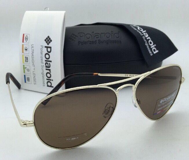 New POLAROID Sunglasses 1006/S 3YGIG 58-14 Gold Aviators Brown POLARIZED Lenses