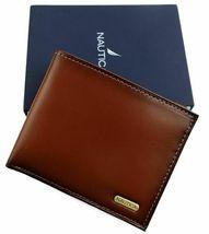 Nautica Men's Premium Leather Credit Card Id Wallet Billfold Tan 31Nu22X023 image 4