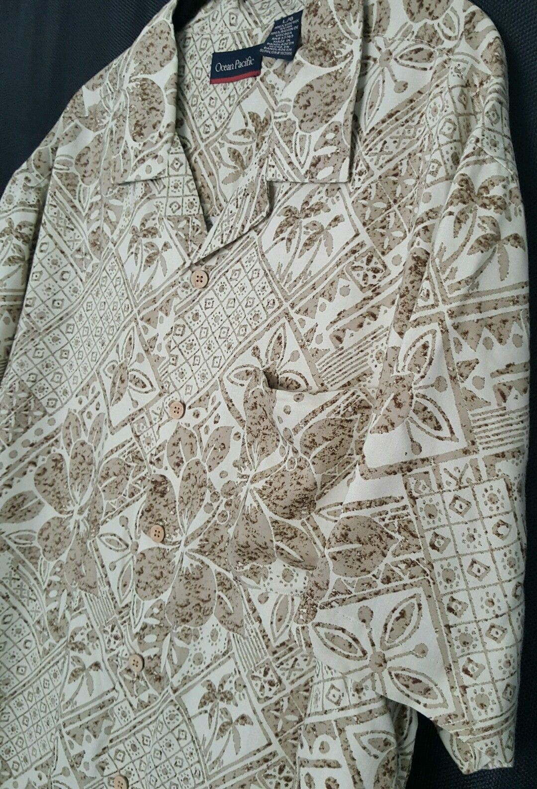 OP Ocean Pacific Aloha Shirt Brown Hawaiian Floral Wood Buttons Cotton Size L
