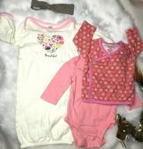 Zutano Mixed Brand 6M Pink Organic Cotton Top Bodysuit Sleeper Gown Baby... - $16.14