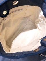 AUTHENTIC CHANEL DARK BLUE DENIM MEDIUM CANVAS DEAUVILLE 2 WAY TOTE BAG  image 4