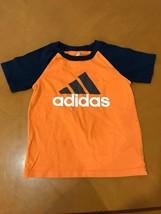 Boys Kids Adidas Blue & Orange T-Shirt Top Size 6 - $6.92