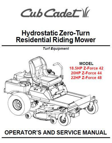 Cub Cadet Zero Turn Z-Force 42 44 48 Service Manual