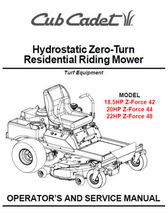 Cub Cadet Zero Turn Z-Force 42 44 48 Service Manual - $5.99