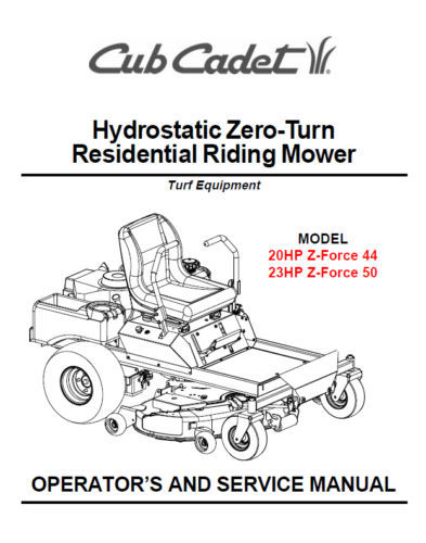 Cub Cadet Zero Turn Z-Force 44 50 Service Parts Manuals