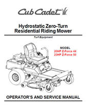 Cub Cadet Zero Turn Z-Force 44 50 Service Parts Manuals - $5.99