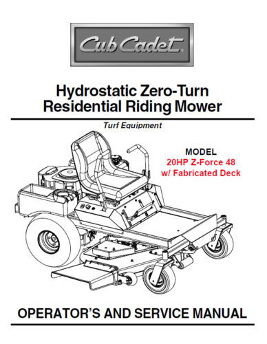 Cub Cadet Zero Turn Z-Force 48 Owner's Service Manual