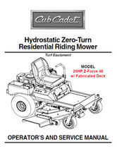 Cub Cadet Zero Turn Z-Force 48 Owner's Service Manual - $5.99