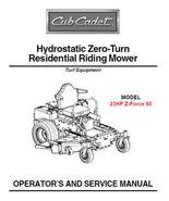 Cub Cadet Zero Turn Z-Force 60 Service & Parts Manuals - $5.99