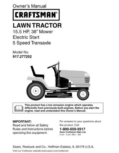 18 Sears Craftsman 15.5 HP Riding Mower Tractor Manuals
