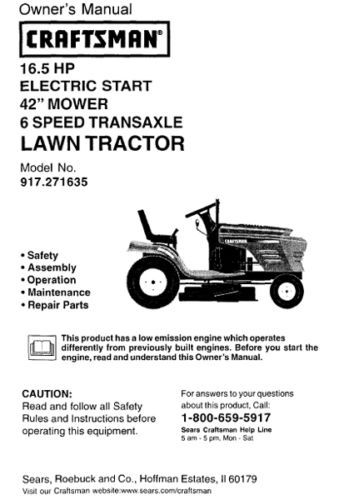 18 Sears Craftsman 16.5 HP Riding Mower Tractor Manuals