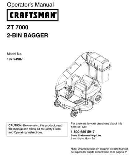 4 Sears Craftsman Zero Turn Lawn Mower Owner's Manuals